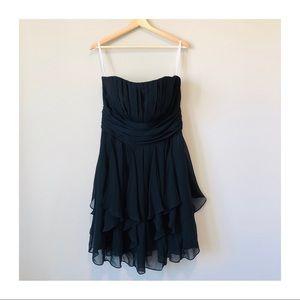 LIKE NEW   David's Bridal Strapless Chiffon Dress